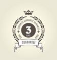 three years warranty seal - chic guarantee emblem vector image vector image