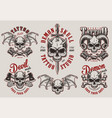 vintage demon tattoo studio prints set vector image vector image