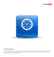 wall clock icon - 3d blue button vector image