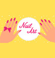 woman hand with pink fingernails and pink bow on vector image vector image