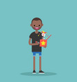 young black character holding a jack in the box vector image vector image