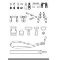 zipper accessory flat sketches template vector image