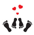 feet and hearts vector image