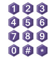 artistic number set on ultraviolet hexagonal vector image