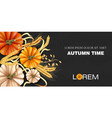 autumn time banner with pumpkin and wheat ears vector image vector image