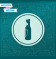 beer bottle icon on a green background with vector image