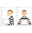 black and white robber mugshot arrested vector image