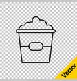black line popcorn in cardboard box icon isolated vector image vector image