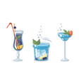 blue alcoholic cocktails with fruits and herbs vector image