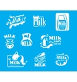 Blue and white milk symbols icons or logos vector image