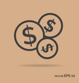 bundle money outline icon black color vector image vector image