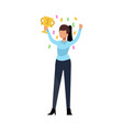 businesswoman with cup young woman standing vector image