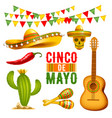 cinco de mayo design elements set vector image vector image