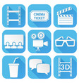 cinema icons set blue square signs with movie vector image vector image