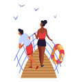 couple on ship deck sea voyage travelers summer vector image
