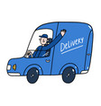 delivery guy in a blue service car vector image vector image