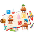 education theme with kids and books vector image