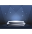 Empty template of white round podium on blue vector image vector image