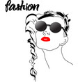 fast fashion sketch with girl in glasses vector image vector image
