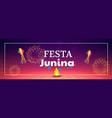 festa junina celebration fireworks banner vector image vector image