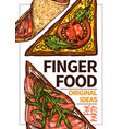 finger food hand drawn poster template vector image vector image