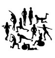 fitness and exercises activity silhouettes vector image vector image