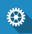 gear icon with long shadow vector image vector image