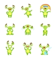 Green Monster Character Different Emotions And vector image vector image