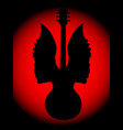 guitar angel silhouette vector image vector image