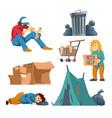homeless people cartoon characters set vector image