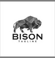 low poly bison logo templates vector image