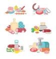 Meat products food preparation flat vector image vector image