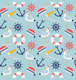 nautical and marine symbols seamless pattern vector image