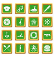 nautical icons set green vector image vector image