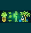 neon signs and icons cactus and pineapple vector image vector image