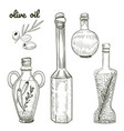 oil bottles hand drawn sketch isolated on white vector image