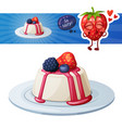 panna cotta dessert with berries icon and vector image vector image