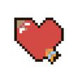 pixel heart with arrow vector image vector image