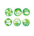 round green leaf bio label icon set vector image vector image