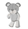 Sad grey teddy bear in vector image