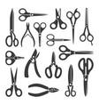 scissors silhouette large set contour vector image vector image