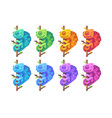 set of colorful chameleons sitting on branches vector image vector image