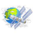 space station flying orbital flight around earth vector image vector image