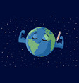 strong earth getting vaccinated cartoon vector image vector image