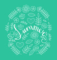 summer lettering in floral pattern round frame vector image vector image