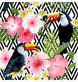 Tropical Birds and Flowers Geometric Background vector image vector image