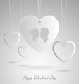 Valentine card with white hearts hanging template vector image vector image