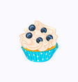 vanilla cupcake with cream and blueberry vector image vector image