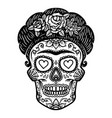 vintage mexican woman skull isolated on white vector image vector image