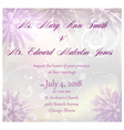 wedding invitation with purple abstract flowers vector image vector image